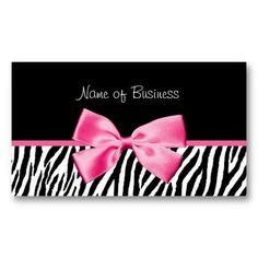 Trendy Black And White Zebra Print Pink Ribbon Business Cards http://www.zazzle.com/trendy_black_and_white_zebra_print_pink_ribbon_business_card-240658439573643922?rf=238835258815790439 #pinkandblack #zebraprint #businesscards