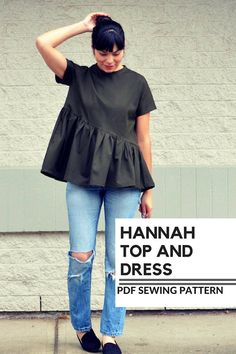 I am thrilled to introduce this new pattern: The Hannah Top and Dress PDF sewing pattern Make a cute and simple top and dress with an asymmetric gathering area. This classic top with a unique cut to add to your wardrobe and make a stunning garment. THE PATTERN FEATURES A loose fit,