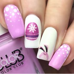 """942 Likes, 4 Comments - HB Beauty Bar (@hbbeautybar) on Instagram: """" Cute #Easter Mani!!! Color Club 'Diggin The Dancing Queen' & 'French Tip' purchased at…"""""""