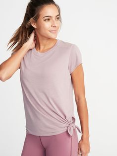 3f159bf197ffe Mesh-Back Side-Tie Performance Top for Women