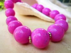 Unique+pink+chuncky+beaded+necklace+Polymer+clay+by+Carolynda,+$68.00