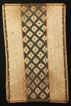 Africa | Bark panel from the Mbole people of DR Congo | Woven, natural dyed stripes.  Used as a traditional decoration element in a chief's hut | Early 20th century