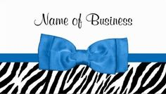 Girly Zebra Print Pretty Bright Blue Ribbon Bow Business Cards http://www.zazzle.com/trendy_zebra_print_with_chic_dazzling_blue_bow_business_card-240643831853262616?rf=238835258815790439&tc=GBCAnimal3Pin