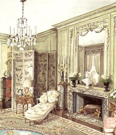 Mr. and Mrs. Landin K. Thorne's New York drawing room decorated by Marian Hall. Rendering by Mark Hampton.