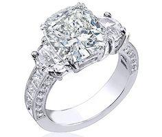 Engagement & The City | Large Cushion Diamond Engagement Ring Half Moon...