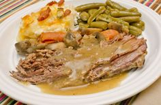 Enjoy this delicious Trim Healthy Mama Pot Roast with Gravy without gaining an inch!