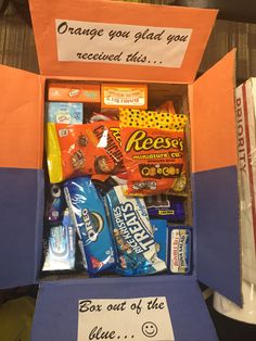 Orange and blue Theme missionary box