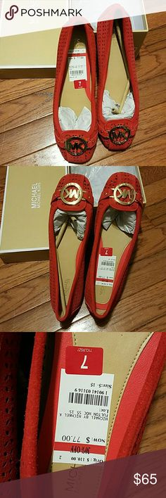 Michael Kors Fulton Brand New Suede Fulton Flats (Coral Reef) with tag price tag. Orig price: $110 + tax. My cousin paid $77 + tax MICHAEL Michael Kors Shoes Flats & Loafers