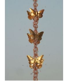 """With the great success of cascading leaves rain chain, Monarch Rainchain inspired to create """"Cascading butterflies on Rings""""  This exotic pure copper rain chain comes with its own triangular gutter installer @ only $189.95 with FREE Shipping"""