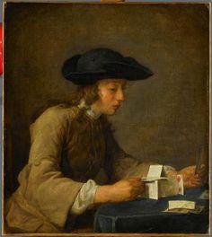 """Le château de cartes"" de Jean Baptiste Siméon Chardin (1699-1779)"