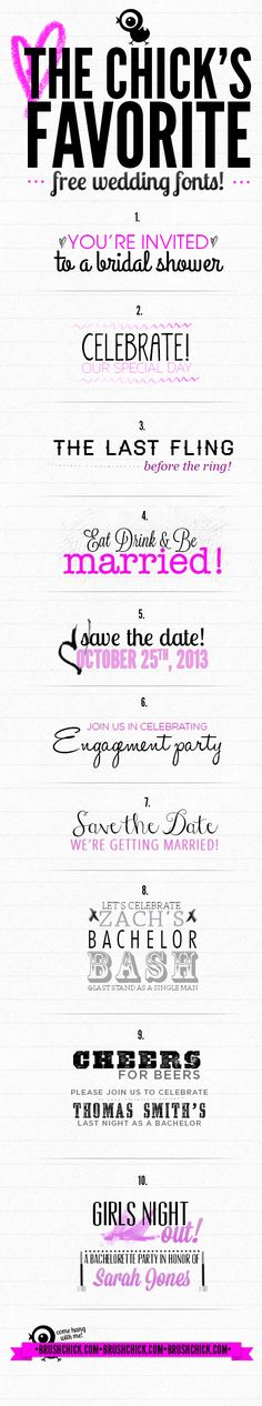 The Chick's Favorite Free Wedding/Save the Date/Bachelorette Party/Engagement Party etc... Invitation Fonts!