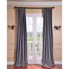 Chinchilla Grey Vintage Cotton Velvet Curtain | Overstock.com