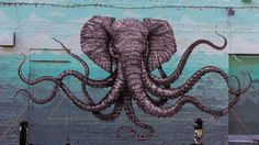 If I could choose any animal to grace my family's coat of arms, it would be this trunktacled elephant/octopus hybrid (which we will refer to as the cthulhuphant), created by Puerto Rican artist Alexis Diaz.