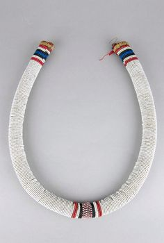 South Africa   Necklet from the Zulu people.  Glass beads and natural fiber   ca. 1954 or earlier