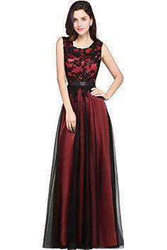 Babyonlinedress Vestido largo de fiesta de boda vestido rojo de gasa cuello redondo sin mangas con talla grande 2017 talla 46