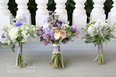Harmony Harvest Farm - Virginia Florists - Purple, sage green, gray and white wedding bouquets with purple ribbon