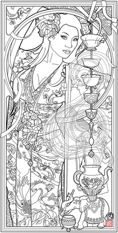 Goddess of Tea by Echo Chernik Coloring Page by echo-x.deviantart.com on @DeviantArt