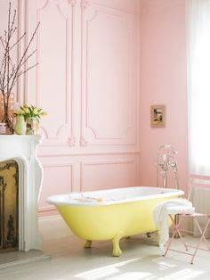 pink bathroom... Love the yellow with the pink. Maybe add some grey or bronze accent and it's perfect!