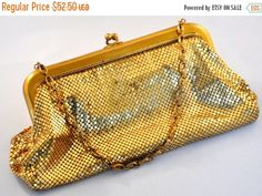 ON SALE Whiting and Davis Gold Mesh Purse by etherealemporium