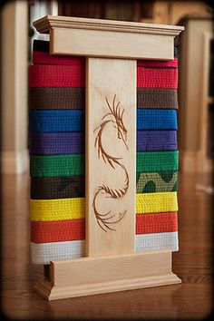 Maple Karate Belt Display Dragon Style (Unpersonalized)
