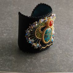 Egyptian Scarab Bracelet  Statement Cuff Bead Embroidered