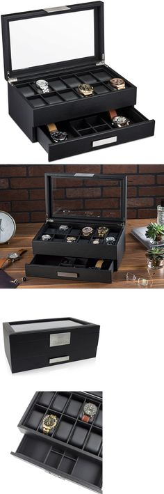 Watch 168164: Large 12 Slot Watch Box For Men -Valet Jewelry Drawer Display Case Holder -Black -> BUY IT NOW ONLY: $59.95 on eBay!