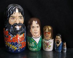 GRATEFUL DEAD.  Beautiful ART Set of 5 nesting dolls.  Hand painted on Wood in Russia . Shipping from Usa worldwide