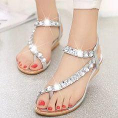 464e650b391 New Fashion Rhinestone Decor Women Bohemia Sandles US Size 4.5-9 (Gold    Silver