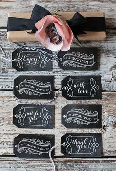 Absolutely gorgeous chalkboard label gift tags.