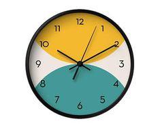 Teal wall clock Geometric wall clock Housewarming gift | Etsy