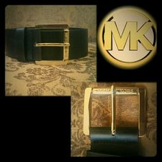 Michael Kors black belt Michael Kors black belt with gold hardware. 1.75 inches wide. Size small. Holes at approximately 27, 28, 29, 30 inches (actual measurements of holes, not pant size related!)  No trades please   Offers welcome through offer feature only Michael Kors Accessories Belts