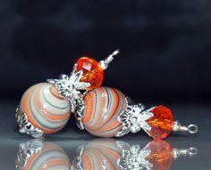 2 Orange, Grey and White Swirl Bead Dangles or Earrings-Handmade Bead Dangles 10mm Round Art Glass Beads by goldcountrydangles on Etsy
