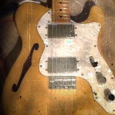 Fender Thinline Telecaster. Interesting aged photo.