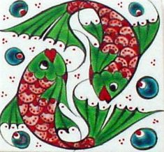 Iznik Tile would love this in my Bathroom Turkish Art, Turkish Tiles, Portuguese Tiles, Moroccan Tiles, Ceramic Pottery, Pottery Art, Slab Pottery, Fish Design, Fish Art