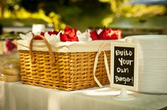 Build your own burger bar for a wedding! Burger Party, Build Your Own, Summer Wedding, Picnic, Bbq, Decor Ideas, Diy, Barbecue, Barrel Smoker