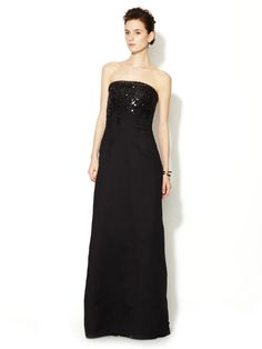 Strapless Embellished Bustier Gown by Carolina Herrera at Gilt