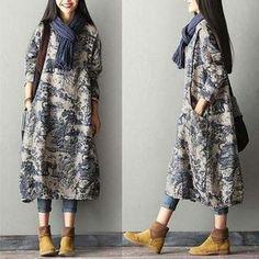 Japanese Porcelain Print Dress