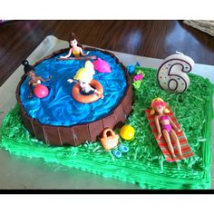 Maybe use boys in the pool.. for Konner's bday? Polly pocket pool party birthday cake.