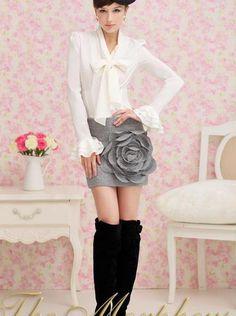 Morpheus Boutique  - Grey Celebirty Flower Decor Pencil Trendy Celebrity Skirt