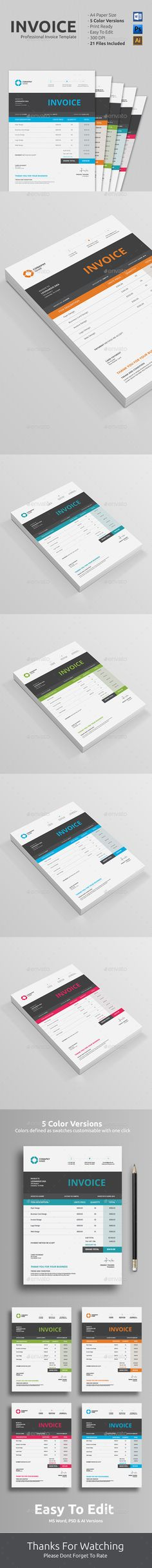 Invoice u2014 Photoshop PSD #a4 u2022 Download ➝    graphicrivernet - how to make your own invoice