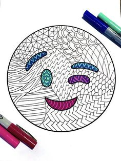 Wink Emoji – PDF Zentangle Coloring Page – Scribble & Stitch Doodle Art Drawing, Zentangle Drawings, Mandala Drawing, Zentangle Patterns, Zentangles, Emoji Drawings, Cute Drawings, Emoji Coloring Pages, Coloring Books