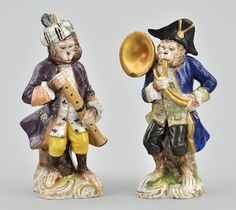 1216. Two Glazed Porcelain Monkey Musician Figurines - May 2010 Auction - ASPIRE AUCTIONS