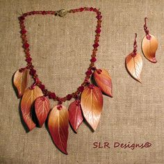 Autumn leaf necklace, molded, wirework, glass beads & polymer clay