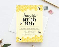 Bee Day Invite Template, Bumble Bee Birthday Invitation Template, Printable Bee Honeycomb Birthday I Bumble Bee Birthday, Baby Birthday, First Birthday Parties, First Birthdays, Birthday Ideas, Birthday Banners, Birthday Quotes, Birthday Gifts, Birthday Cake