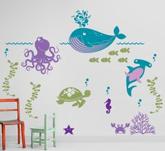 Ocean Friends Under the Sea Nursery Vinyl Wall by InAnInstantArt, $75.00
