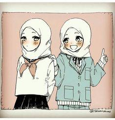 Hijab Drawing, Manga Drawing, Cute Wallpaper Backgrounds, Cute Wallpapers, Muslim Images, Anime Sisters, Islamic Cartoon, Hijab Cartoon, Cartoon Art Styles