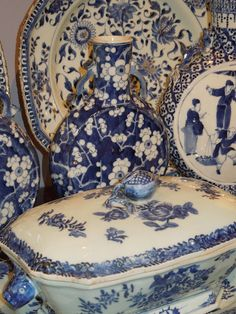 Antique blue and white porcelain serving dishes all crowded together! Excess at it's BEST!!