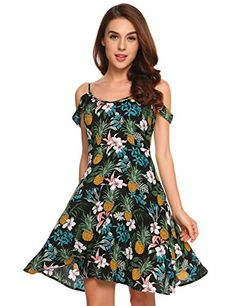 Beyove Women's Floral Print Off Shoulder Long Beach Skater Sundress