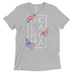 Floral Oklahoma Tri-Blend Short Sleeve T-shirt