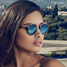 881c2d85cc7c Double Bridge Round Mirror Sunglasses 😎❤ Mirrored Sunglasses